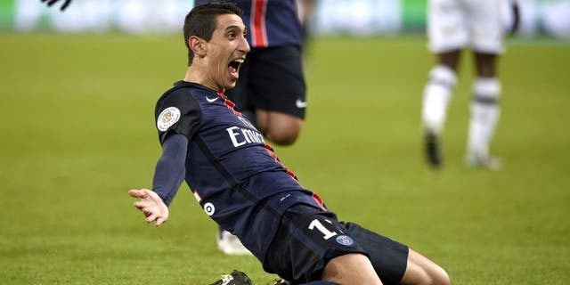 Paris Saint-Germain's Argentinian forward Angel Di Maria celebrates after scoring a goal during the French L1 football match between Paris Saint-Germain (PSG) and Angers on January 23, 2016 at the Parc des Princes stadium in Paris. AFP PHOTO / FRANCK FIFE / AFP / FRANCK FIFE (Photo credit should read FRANCK FIFE/AFP/Getty Images)