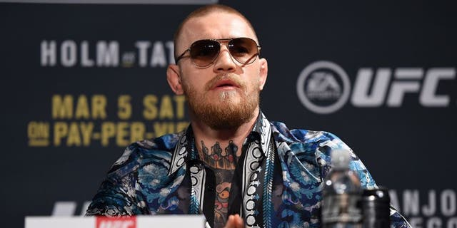 LAS VEGAS, NV - JANUARY 20: Conor McGregor of Ireland interacts with the media during the UFC 197 on-sale press conference event inside MGM Grand Hotel & Casino on January 20, 2016 in Las Vegas, Nevada. (Photo by Jeff Bottari/Zuffa LLC/Zuffa LLC via Getty Images)
