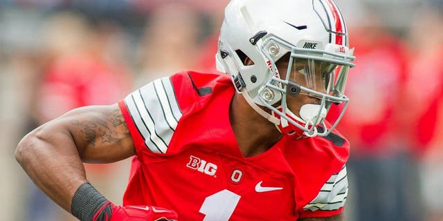 Sep 12, 2015; Columbus, OH, USA; Ohio State Buckeyes wide receiver Braxton Miller (1) warms up before the game against the Hawaii Warriors at Ohio Stadium. The Ohio State Buckeyes beat the Hawaii Warriors by the score of 38-0. Mandatory Credit: Trevor Ruszkowski-USA TODAY Sports