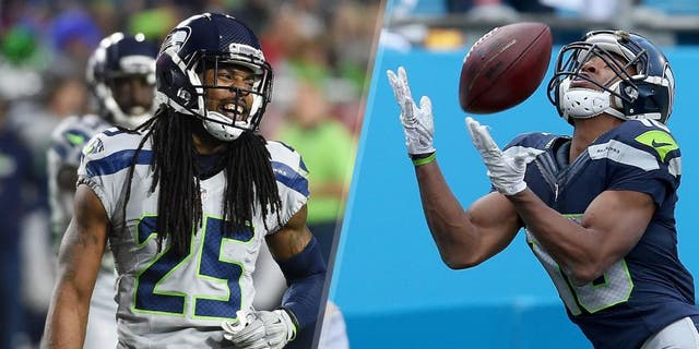 Cornerback Richard Sherman #25 of the Seattle Seahawks reacts on the field during the NFL game against the Arizona Cardinals at University of Phoenix Stadium on January 3, 2016 in Glendale, Arizona. The Seahawks defeated the Cardinals 36-6. (Photo by Norm Hall/Getty Images) Tyler Lockett #16 of the Seattle Seahawks catches a touchdown pass against the Carolina Panthers in the 3rd quarter during the NFC Divisional Playoff Game at Bank of America Stadium on January 17, 2016 in Charlotte, North Carolina. (Photo by Patrick Smith/Getty Images)