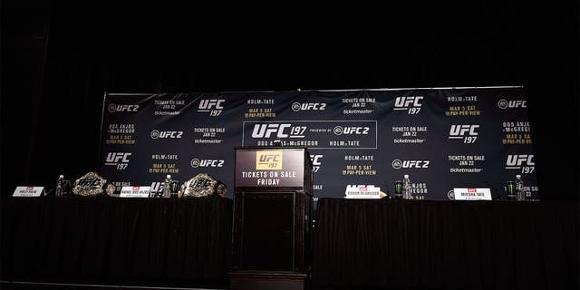 LAS VEGAS, NV - JANUARY 20: A general view of the stage during the UFC 197 on-sale press conference event inside MGM Grand Hotel & Casino on January 20, 2016 in Las Vegas, Nevada. (Photo by Jeff Bottari/Zuffa LLC/Zuffa LLC via Getty Images)