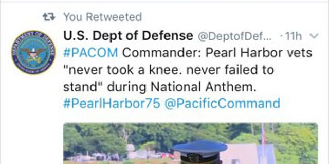 The since-deleted tweet from the Defense Dept.'s account.