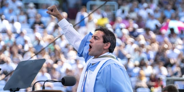 Rye Barcott speaking at UNC's commencement
