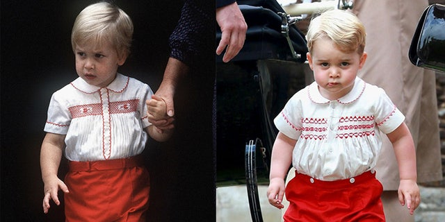 Prince William wore a white top with red embroidery and red shorts to visit Prince Harry in the hospital in 1984, while Prince George sported a similar ensemble in 2015 to Princess Charlotte's christening.