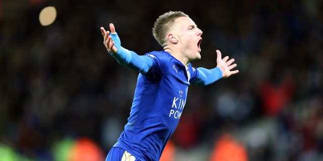 LEICESTER, ENGLAND - FEBRUARY 02 : Jamie Vardy of Leicester City celebrates after scoring to make it 1-0 during the Barclays Premier League match between Leicester City and Liverpool at the King Power Stadium on February 02 , 2016 in Leicester, United Kingdom. (Photo by Plumb Images/Leicester City FC via Getty Images)