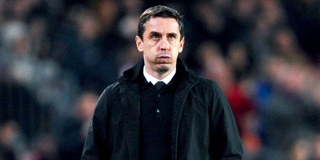 BARCELONA, SPAIN - FEBRUARY 03: Head coach Gary Neville of Valencia CF reacts during the Copa del Rey Semi Final first leg match between FC Barcelona and Valencia at Nou Camp on February 3, 2016 in Barcelona, Spain. (Photo by David Ramos/Getty Images)
