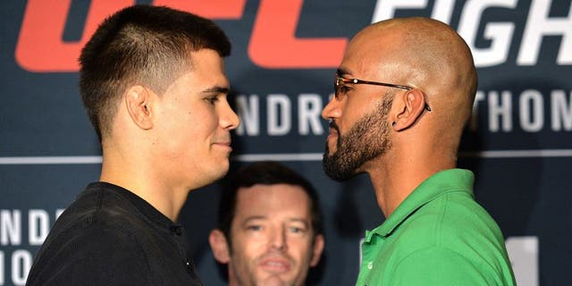 LAS VEGAS, NEVADA - FEBRUARY 03: (L-R) Mickey Gall and Mike Jackson face off during the Ultimate Media Day at the MGM Grand Hotel/Casino on February 3, 2016 in Las Vegas Nevada. (Photo by Brandon Magnus/Zuffa LLC/Zuffa LLC via Getty Images)