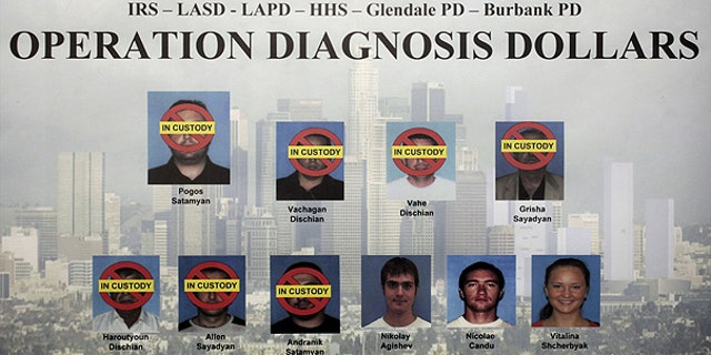 This composite photo released by the FBI Oct. 13, 2010, shows 10 suspects indicted in Los Angeles as part of an FBI investigation, dubbed Operation Diagnosis Dollars, which targeted the largest Medicare fraud ring by one criminal enterprise in the program's history.