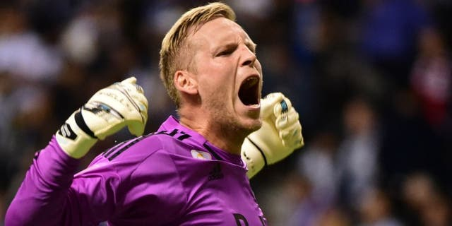 Sep 26, 2015; Vancouver, British Columbia, CAN; Vancouver Whitecaps goalkeeper David Ousted (1) reacts during the first half against the New York City FC at BC Place. Mandatory Credit: Anne-Marie Sorvin-USA TODAY Sports
