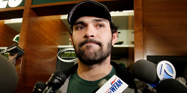 Jan. 24: New York Jets quarterback Mark Sanchez talks to reporters before cleaning out his locker in Florham Park, N.J.