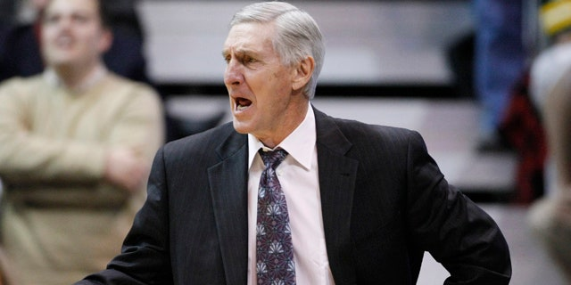 Jan. 26: Jazz head coach Jerry Sloan reacts to a foul called on his team during the second half of an NBA basketball game against the Spurs in Salt Lake City.