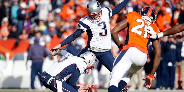 Jan 24, 2016; Denver, CO, USA; New England Patriots kicker Stephen Gostkowski (3) misses an extra point against the Denver Broncos in the first quarter in the AFC Championship football game at Sports Authority Field at Mile High. Mandatory Credit: Kevin Jairaj-USA TODAY Sports