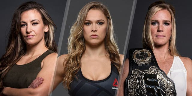 Miesha Tate poses for a portrait backstage during the UFC 197 on-sale press conference event inside MGM Grand Hotel & Casino on January 20, 2016 in Las Vegas, Nevada. (Photo by Brandon Magnus/Zuffa LLC/Zuffa LLC via Getty Images) UFC women's bantamweight champion Ronda Rousey poses for a portrait during a UFC photo session at the Sheraton Rio Hotel on July 28, 2015 in Rio de Janeiro, Brazil. (Photo by Jeff Bottari/Zuffa LLC/Zuffa LLC via Getty Images) UFC bantamweight champion Holly Holm poses for a portrait backstage during the UFC 197 on-sale press conference event inside MGM Grand Hotel & Casino on January 20, 2016 in Las Vegas, Nevada. (Photo by Brandon Magnus/Zuffa LLC/Zuffa LLC via Getty Images)