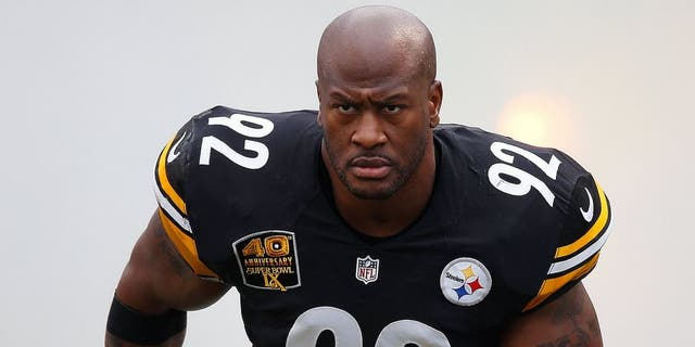 PITTSBURGH, PA - NOVEMBER 30: James Harrison #92 of the Pittsburgh Steelers is introduced prior to the game against the New Orleans Saints at Heinz Field on November 30, 2014 in Pittsburgh, Pennsylvania. (Photo by Gregory Shamus/Getty Images)