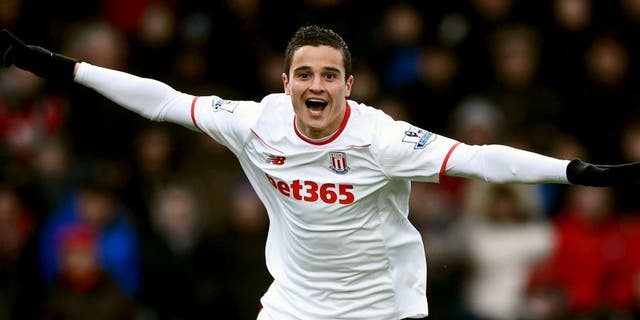 BOURNEMOUTH, ENGLAND - FEBRUARY 13: Ibrahim Afellay of Stoke City celebrates scoring his team's second goal during the Barclays Premier League match between A.F.C. Bournemouth and Stoke City at Vitality Stadium on February 13, 2016 in Bournemouth, England. (Photo by Mike Hewitt/Getty Images)