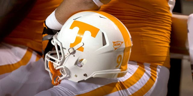 KNOXVILLE, TN - SEPTEMBER 15: A detail view of a Tennessee helmet during a game between the Florida Gators and the Tennessee Volunteers at Neyland Stadium on September 15, 2012 in Knoxville, Tennessee. The Gators defeated the Volunteers 37-20. (Photo by Sheila Hanus/Replay Photos via Getty Images)