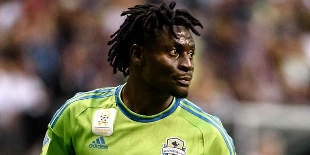 Sep 19, 2015; Vancouver, British Columbia, CAN; Seattle Sounders forward Obafemi Martins (9) awaits the start of play against the Vancouver Whitecaps during the first half at BC Place. The Seattle Sounders won 3-0. Mandatory Credit: Anne-Marie Sorvin-USA TODAY Sports