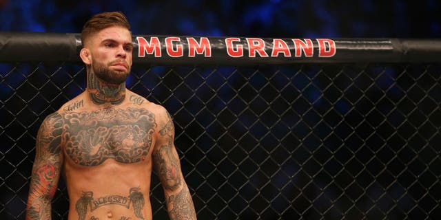 LAS VEGAS, NV - JULY 11: Cody Garbrandt prepares to face Henry Briones in their bantamweight fight during the UFC 189 event inside MGM Grand Garden Arena on July 11, 2015 in Las Vegas, Nevada. (Photo by Christian Petersen/Zuffa LLC/Zuffa LLC via Getty Images)