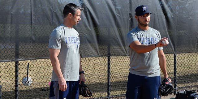 LAKELAND, FL - FEBRUARY 17: Manager Brad Ausmus #7 of the Detroit Tigers talks with pitcher Anibal Sanchez #19 during a Spring Training workout day at the TigerTown Facility on February 17, 2016 in Lakeland, Florida. (Photo by Mark Cunningham/MLB Photos via Getty Images)