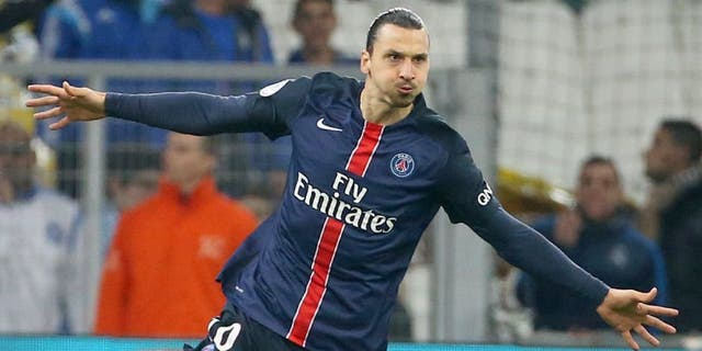 MARSEILLE - FEBRUARY 7: Zlatan Ibrahimovic of PSG celebrates his goal during the French Ligue 1 match between Olympique de Marseille (OM) and Paris Saint-Germain (PSG) at New Stade Velodrome on February 7, 2016 in Marseille, France. (Photo by Jean Catuffe/Getty Images)