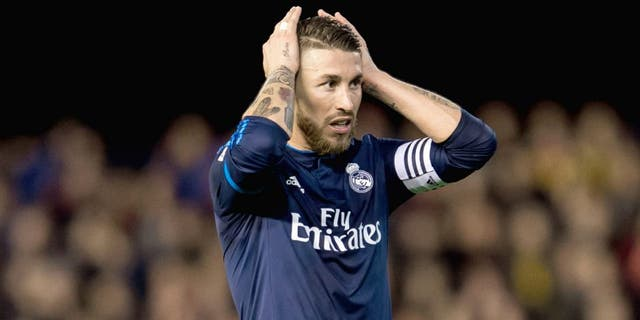 VALENCIA, SPAIN - JANUARY 03: Sergio Ramos of Real Madrid CF reacts during the La Liga match between Valencia CF and Real Madrid CF at Estadio de Mestalla on January 3, 2016 in Valencia, Spain. (Photo by Aitor Colomer/Power Sport Images/Getty Images)