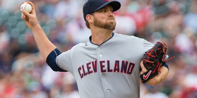 Aug 16, 2015; Minneapolis, MN, USA; Cleveland Indians relief pitcher Ryan Webb (54) pitches in the eighth inning against the Minnesota Twins at Target Field. The Twins won 4-1. Mandatory Credit: Brad Rempel-USA TODAY Sports
