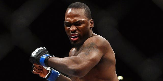 LAS VEGAS, NV - JANUARY 31: Derek Brunson reacts to his victory over Ed Herman in their middleweight bout during the UFC 183 event at the MGM Grand Garden Arena on January 31, 2015 in Las Vegas, Nevada. (Photo by Jeff Bottari/Zuffa LLC/Zuffa LLC via Getty Images)