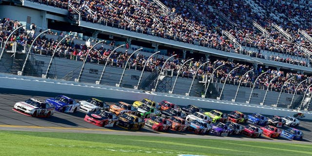 DAYTONA BEACH, FL - FEBRUARY 20: Joey Logano, driver of the #22 Discount Tire Ford, leads a pack of cars during the NASCAR XFINITY Series PowerShares QQQ 300 at Daytona International Speedway on February 20, 2016 in Daytona Beach, Florida. (Photo by Jared C. Tilton/Getty Images)