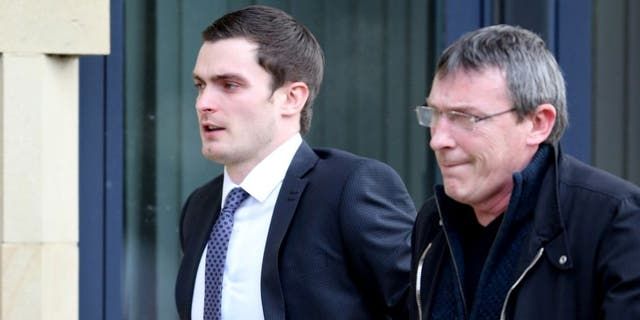 BRADFORD, ENGLAND - FEBRUARY 24: Footballer Adam Johnson (R) arrives with his father Dave at Bradford Crown Court for day nine of the trial where he is facing child sexual assault charges on February 24, 2016 in Bradford, England. The former Sunderland FC midfielder, 28, from Castle Eden, County Durham, has admitted one charge of sexual activity with a child and one charge of child grooming, but denies two further counts of sexual activity with a child. (Photo by Nigel Roddis/Getty Images)