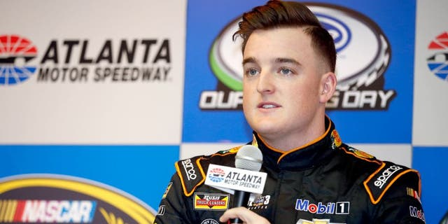 HAMPTON, GA - FEBRUARY 26: Ty Dillon, driver of the #14 Bass Pro Shops Tracker Boats Chevrolet, speaks with the media prior to practice for the NASCAR Sprint Cup Series Folds of Honor QuikTrip 500 at Atlanta Motor Speedway on February 26, 2016 in Hampton, Georgia. (Photo by Todd Warshaw/NASCAR via Getty Images)