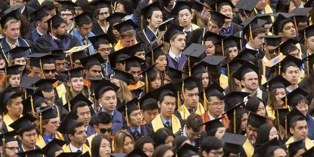 Graduates attend commencement at University of California, Berkeley in Berkeley.