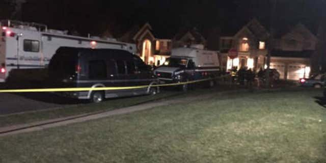 Scene outside a Woodbridge, Va. home where a 'domestic-related incident' led to three officers being shot.