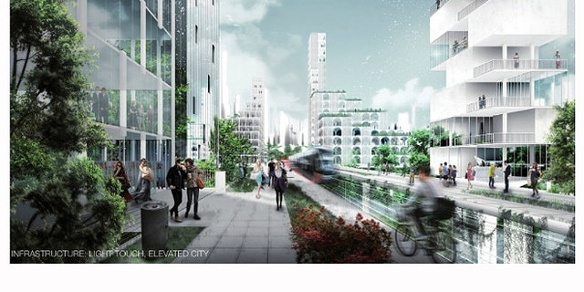 """A rendering of another possible concept for the population of Liberland, an """"elevated city."""""""
