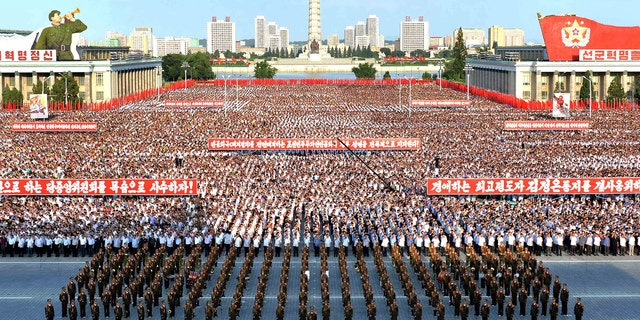 A general view shows a Pyongyang city mass rally held at Kim Il Sung Square on August 9, 2017, to fully support the statement of the Democratic People's Republic of Korea (DPRK) government in this photo released on August 10, 2017 by North Korea's Korean Central News Agency (KCNA) in Pyongyang