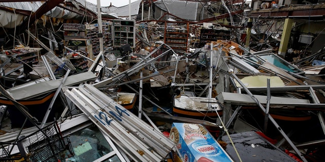 Damage seen in a supermarket after the area was hit by Hurricane Maria in Guayama, Puerto Rico September 20, 2017.