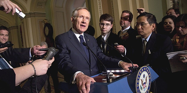 March 1: Senate Majority Leader Sen. Harry Reid, D- Nev., talks to the media after a Democratic policy luncheon in Washington.