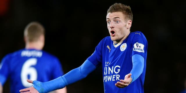 LEICESTER, ENGLAND - MARCH 01: Jamie Vardy of Leicester City reacts during the Barclays Premier League match between Leicester City and West Bromwich Albion at The King Power Stadium on March 1, 2016 in Leicester, England. (Photo by Michael Regan/Getty Images)