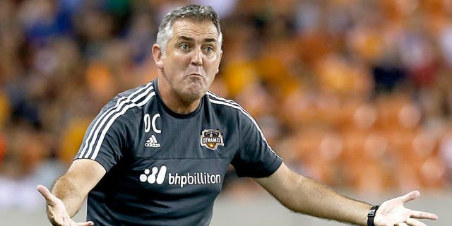Sep 26, 2015; Houston, TX, USA; Houston Dynamo head coach Owen Coyle looks for a call against the Colorado Rapids in the second half at BBVA Compass Stadium. Dynamo won 3 to 2. Mandatory Credit: Thomas B. Shea-USA TODAY Sports