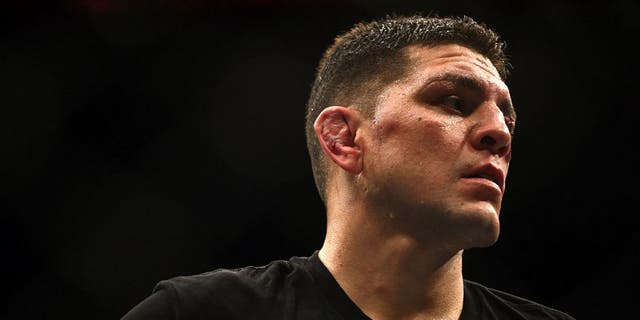 LAS VEGAS, NV - JANUARY 31: Nick Diaz stands in the Octagon after his middleweight bout during the UFC 183 event at the MGM Grand Garden Arena on January 31, 2015 in Las Vegas, Nevada. (Photo by Jeff Bottari/Zuffa LLC/Zuffa LLC via Getty Images)