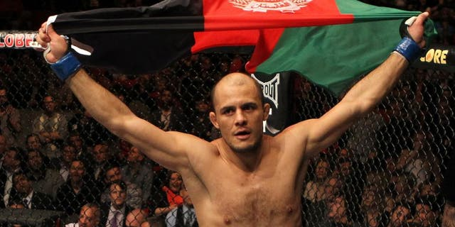 STOCKHOLM, SWEDEN - APRIL 14: Siyar Bahadurzada reacts after knocking out Paulo Thiago in a welterweight bout at the UFC on Fuel TV event at Ericsson Globe on April 14, 2012 in Stockholm, Sweden. (Photo by Josh Hedges/Zuffa LLC/Zuffa LLC via Getty Images)