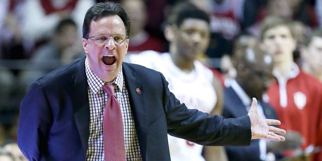BLOOMINGTON, IN - MARCH 03: Tom Crean the head coach of the Indiana Hoosiers gives instructions to his team during the game against the Iowa Hawkeyes at Assembly Hall on March 3, 2015 in Bloomington, Indiana. (Photo by Andy Lyons/Getty Images)