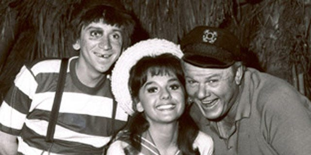 """Bob Denver, left, shown posing with fellow cast members of """"Gilligan's Island,"""" Dawn Wells and Alan Hale Jr., in 1965 in Los Angeles."""