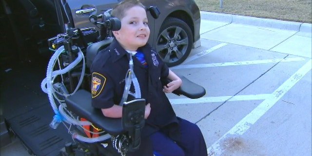 10-year old Dakin Lovelace, who has a rare genetic disorder became the newest junior officer at the Fort Worth Police Department.