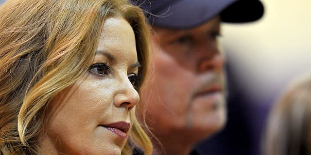 Los Angeles Lakers Jeanie Buss and Jim Buss during a press conference held to in 2012.