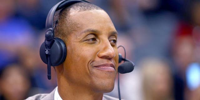 Jan 19, 2015; Phoenix, AZ, USA; TNT tv announcer Reggie Miller during the Phoenix Suns against the Los Angeles Lakers at US Airways Center. The Suns defeated the Lakers 115-100. Mandatory Credit: Mark J. Rebilas-USA TODAY Sports
