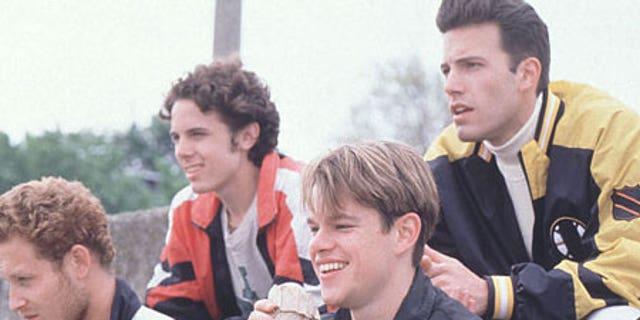 Ben Affleck (top R) and Matt Damon (bottom R) in a 'Good Will Hunting' scene.