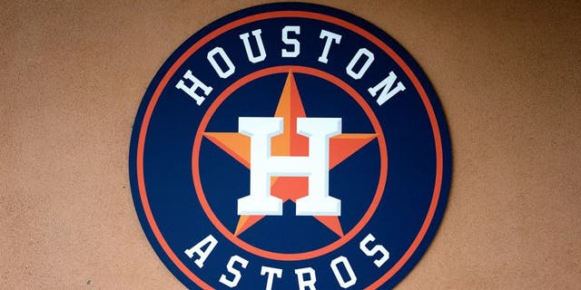 KISSIMMEE, FL - MARCH 12: A Houston Astros logo at the stadium during the spring training game against the Washington Nationals at Osceola County Stadium on March 12, 2014 in Kissimmee, Florida. (Photo by Rob Foldy/Getty Images)
