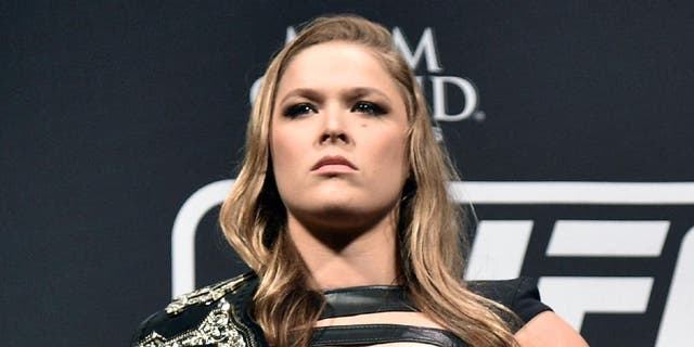 RIO DE JANEIRO, BRAZIL - MARCH 20: UFC Women's Bantamweight Champion Ronda Rousey of the United States pose for the media during the 189 World Media Tour Launch press conference at Maracanazinho on March 20, 2015 in Rio de Janeiro, Brazil. (Photo by Buda Mendes/Zuffa LLC/Zuffa LLC via Getty Images)