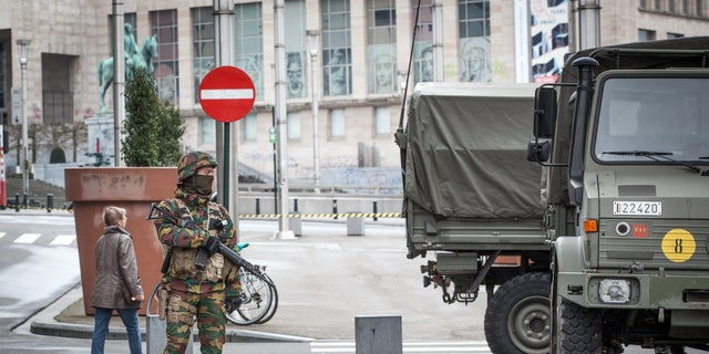 A Belgian soldier on patrol in Brussels after Tuesday's terror attacks.