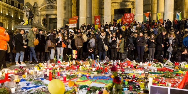 A memorial to the Belgium terror victims in Brussels Wednesday.